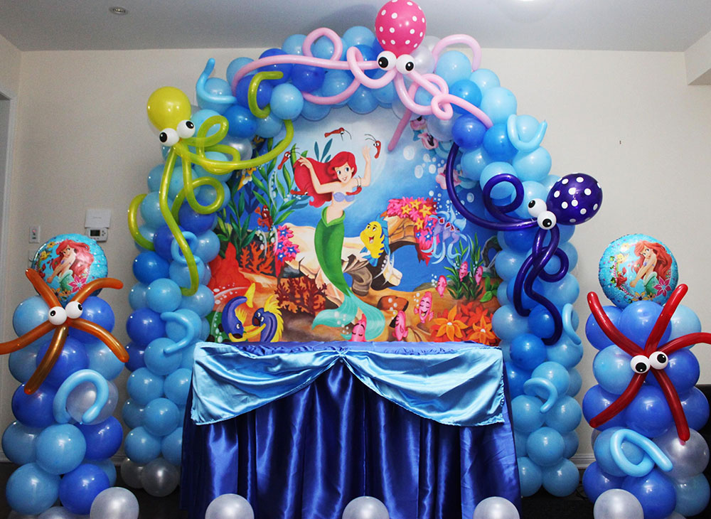 Ariel little mermaid theme party cyprus bar catering for Ariel decoration